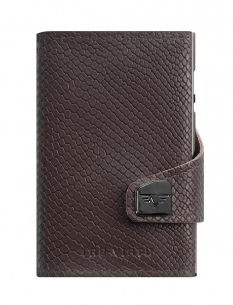 Monedero CLICK & SLIDE Cobra Dark Brown/Silver