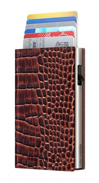 Monedero CLICK & SLIDE Sleek Croco Brown/Silver