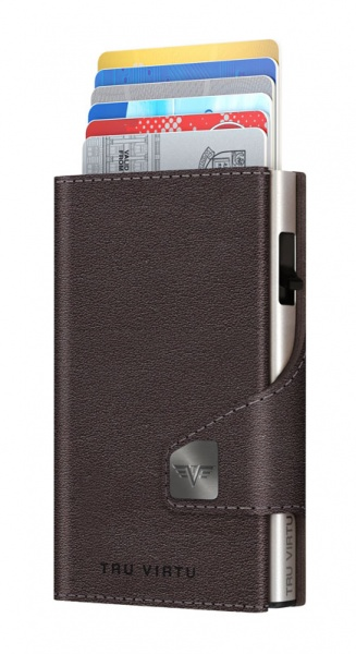Monedero CLICK&SLIDE Nappa Brown CoinPocket/Silve