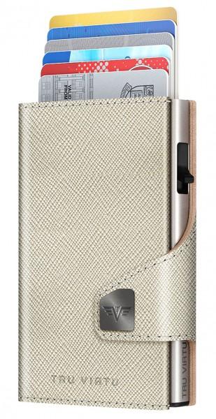Portemonnaie CLICK & SLIDE Saffiano Whitegold/Sil