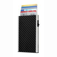Card Case CLICK & SLIDE Carbon Fibre Black/Sil