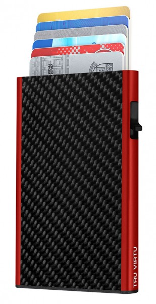 Karten Etui CLICK & SLIDE Carbon Fibre Black/Red