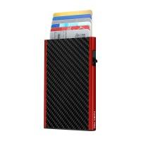 Étui Cartes CLICK & SLIDE Carbon Fibre Black/Red