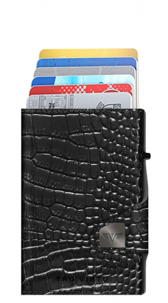 Doble cartera CLICK & SLIDE Croco Black/Black