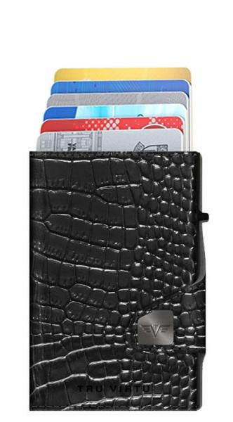 Doublewallet CLICK & SLIDE Croco Black/Black