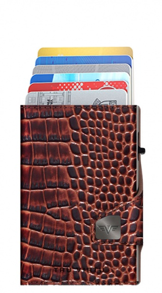Doble cartera CLICK & SLIDE Croco Brown/Silver