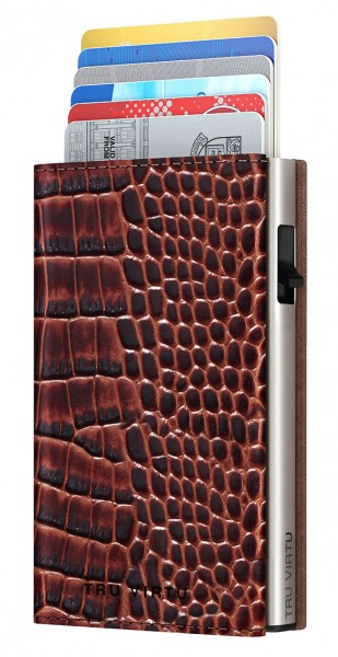 Monedero CLICK & SLIDE Sleek Croco Brown/Silver