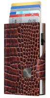 Doublewallet CLICK & SLIDE Croco Brown/Silver
