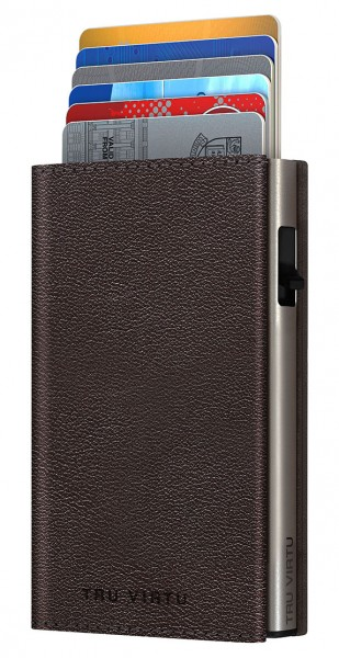 Wallet CLICK&SLIDE Sleek Nappa Brown/Silver Diagonal