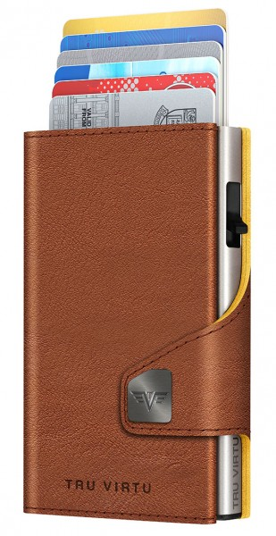 Wallet CLICK & SLIDE Natural Brown-Yell/Silver