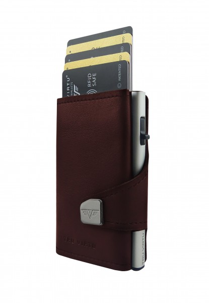 Wallet CLICK & SLIDE Nappa Brown Coin Pocket/Silve