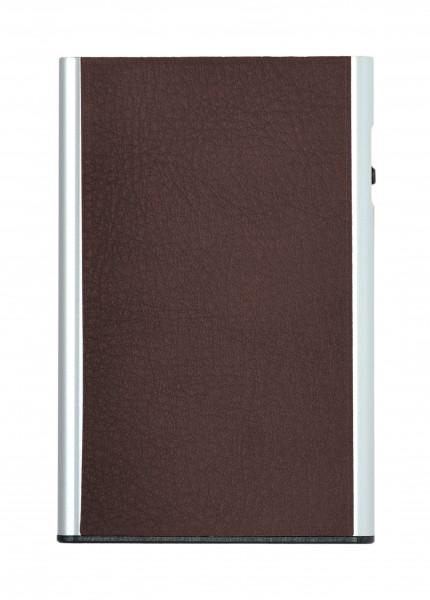Card Case CLICK & SLIDE Nappa Chestnut/Silver