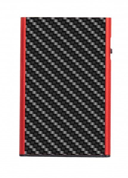 Card Case CLICK & SLIDE Carbon Fibre Black/Red